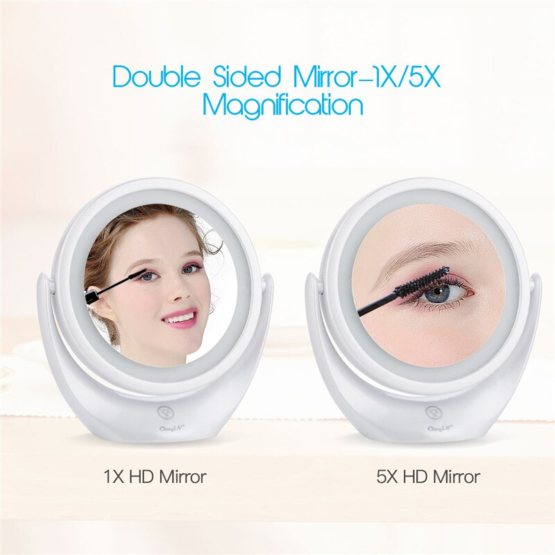 Interruptor de luz Led táctil espejo cosmético de doble cara 1X y 5X, 360 rotativo USB recargable maquillaje espejo maquillaje de ojos