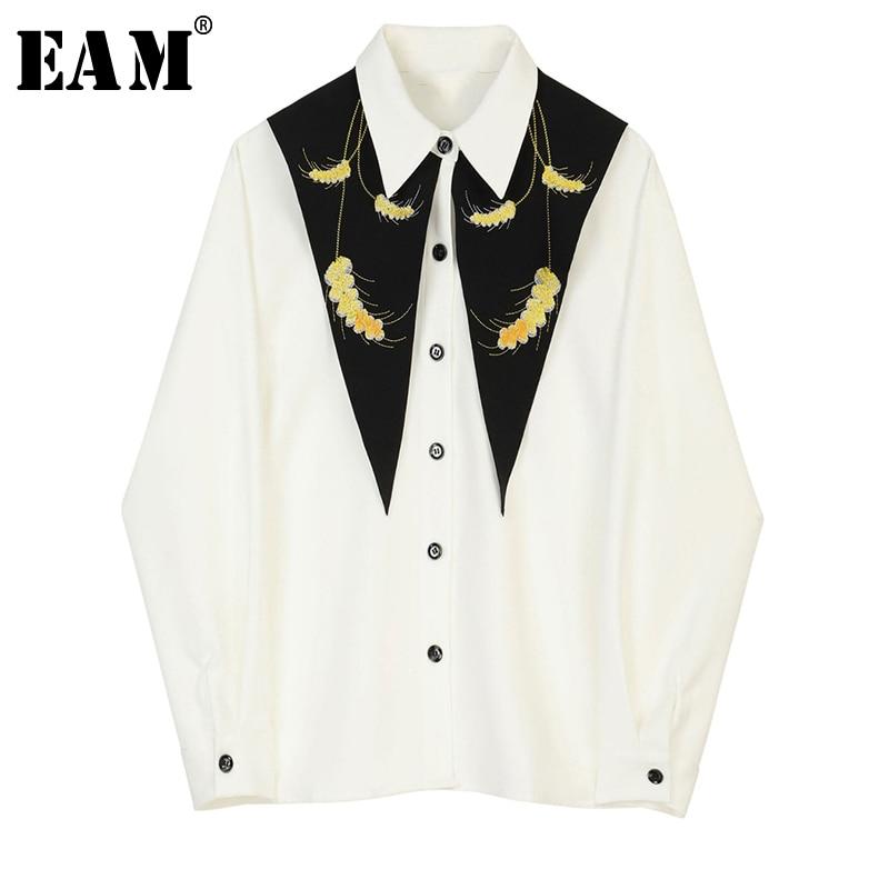 [EAM] Women White Pattern Print Spliced Blouse New Lapel Long Sleeve Loose Fit Shirt Fashion Tide Spring Autumn 2020 JZ225