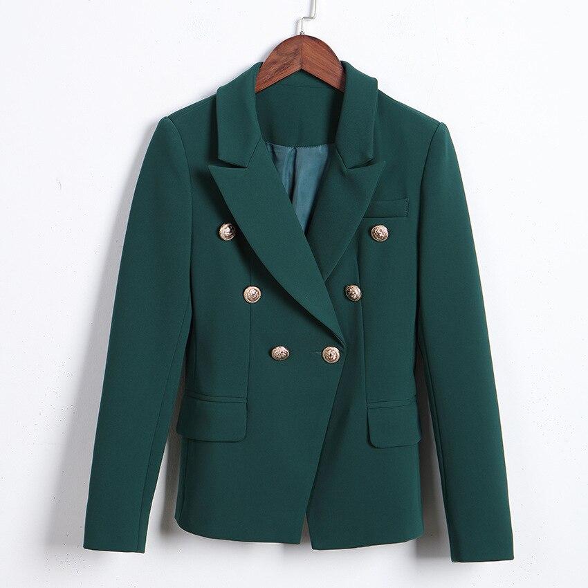 أنيقة المرأة سليم السترة الكلاسيكية الخضراء دعوى السترة للنساء مزدوجة زر الصدر سترة مكتب معطف للسيدات
