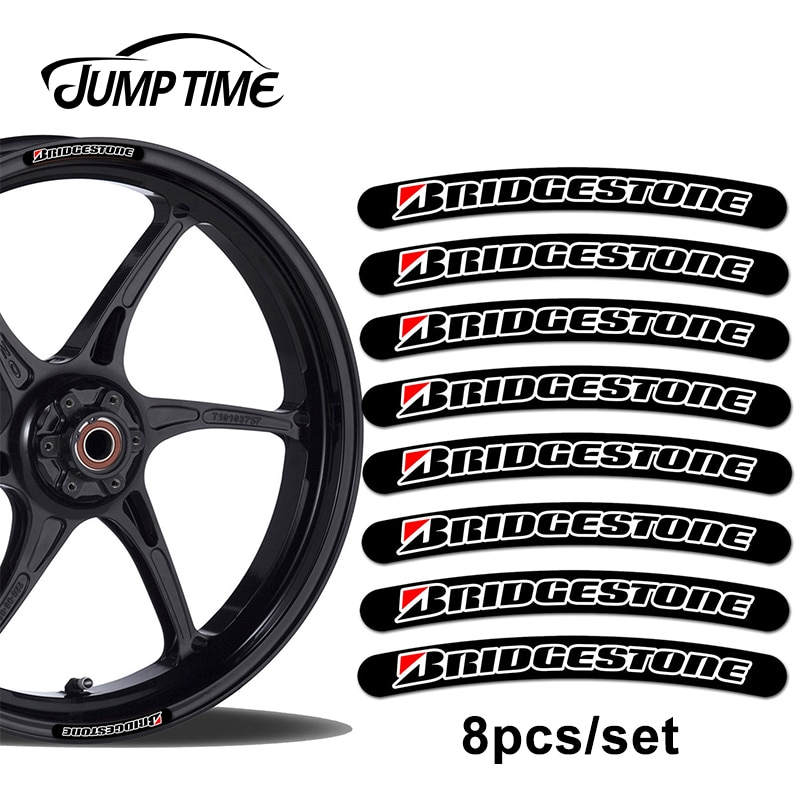 Jump Time 13cm x 1,3 cm 8 Uds para Bridgestone Rim, pegatina de llanta, juego con franjas para coche, motocicleta, calcomanía de carreras, adhesivo plano