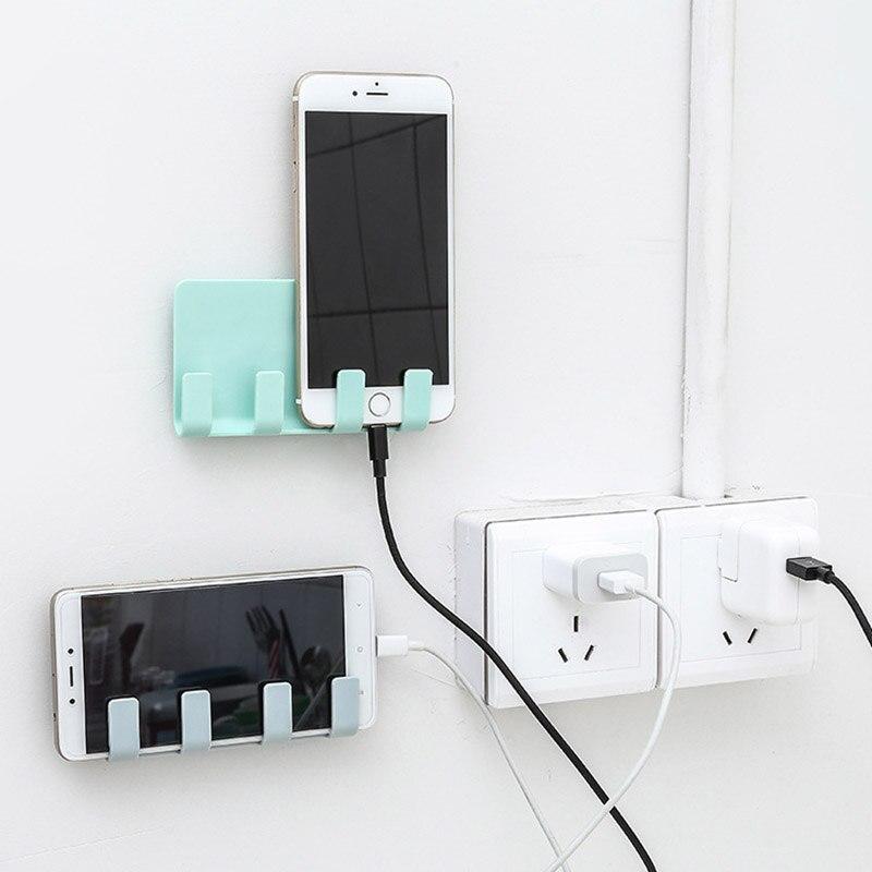 Suporte do telefone colar estilo suporte de carregamento do telefone 4 gancho suporte de carregamento do telefone cabide de armazenamento acessórios do telefone móvel txtb1