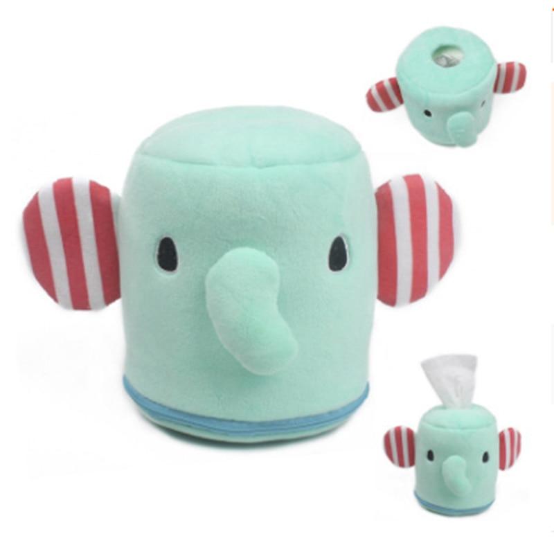 Caja de toallitas al aire libre portátil para cochecito dispensador de limpieza caja de toallitas dibujo animado bebé elefante caja de pañuelos de felpa