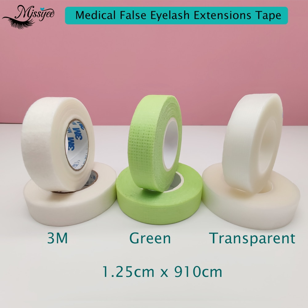 5 uds 3M cinta microporosa quirúrgica extensión de pestañas postizas Apprication médica transpirable microporosa cinta transparente no tejida