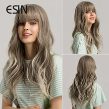 ESIN Grey and Brown Ombre to Blonde Long Water Wave Wigs with Bangs Daily Natural Wig for Women Heat Resistant Synthetic Hair