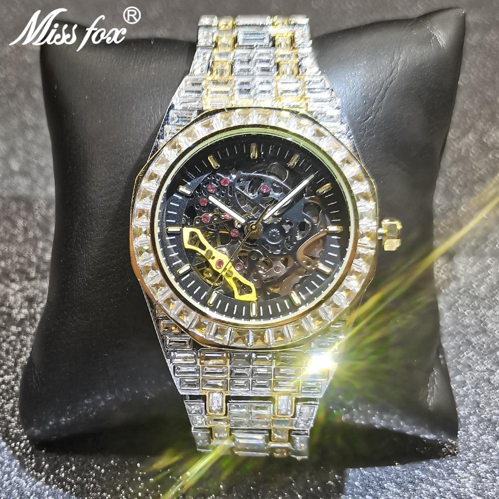 MISSFOX Automatic Mechanical Men Watches Hip Hop Full Diamond  Square Gold Bling Wristwatch Classic AAA Clocks Relógio masculino