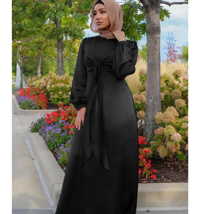 Abayas para as Mulheres Vestido de Cetim Ramadan Muçulmano Feminino Sólida Casual Verão Dubai Abaya Turquia Roupa Islâmica Modesta Eid Cor