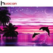 Huacan 전체 광장 & 라운드 다이아몬드 페인팅 돌고래 5d DIY 다이아몬드 자수 장식 홈 아트 키트