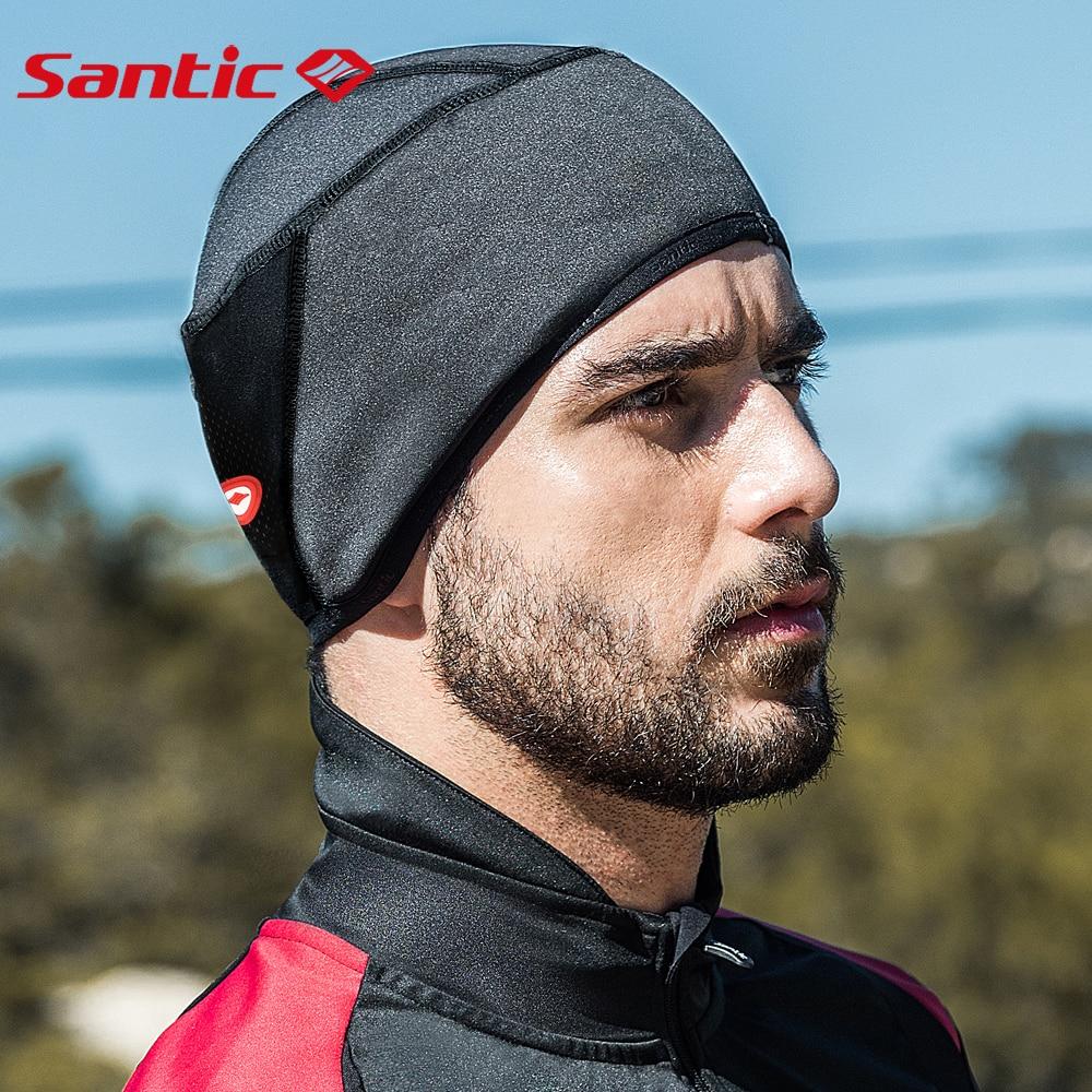 Купить с кэшбэком Santic Cycling Helmet Liner Bicycle Hat Thermal Fleece Windproof Men Women Bicycle Headwear MTB Road Bike Sports Caps Free Size