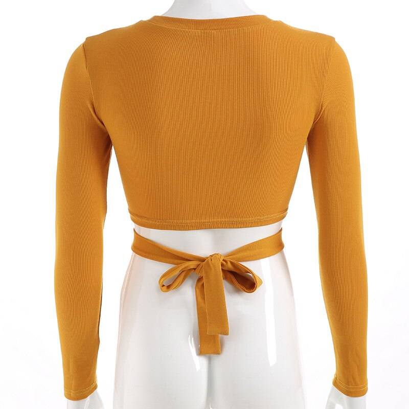 Spring Autumn Women New Hollow Out Short T-shirts Long Sleeve O-Neck Bandage Crop Tops Solid Yellow Black Europe Streetwear 2019