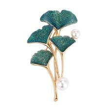 Broche de dama de moda, broches de hoja de Ginkgo, broches de perlas de imitación, regalo, joyería de moda