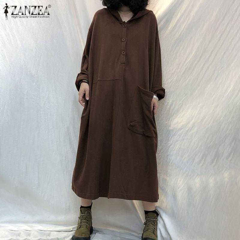 ZANZEA Hoodies Lange Maxi Robe Frauen Mode Sweatshirt Kleid Vintage Feste Taste Vestido Casual Chic Lose Kaftan Oversize 5XL