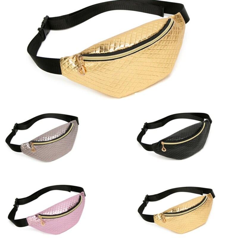 Fashion Funny Women PU Leather Laser Zipper Waist Pouch Waterproof Sports Running Belt Bag Bum Waist Packs