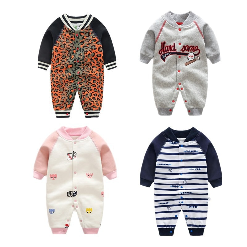 Irocmll recién nacido primavera algodón mono cálido moda dibujos animados Bebé Ropa de manga larga bebé niña niño ropa para 0-12m