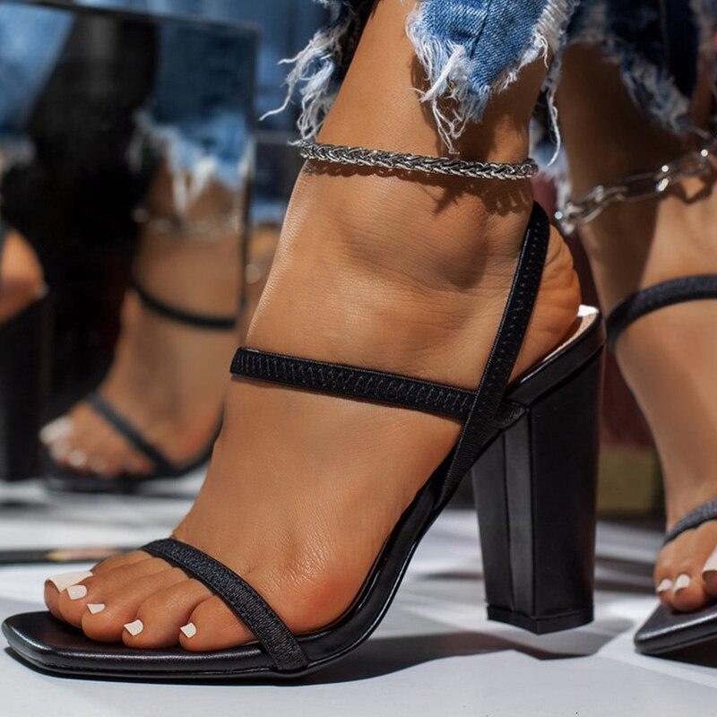 2021 New Women Slippers Fashion Peep Toe Square Heels High Heels Females Fashion Solid Narrow Band P