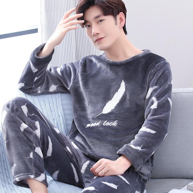 Зима теплая фланель пижамы комплекты мужские мужские пижамы большие размеры зима теплые фланель пижамы комплекты пижамы длинные брюки пижамы комплект