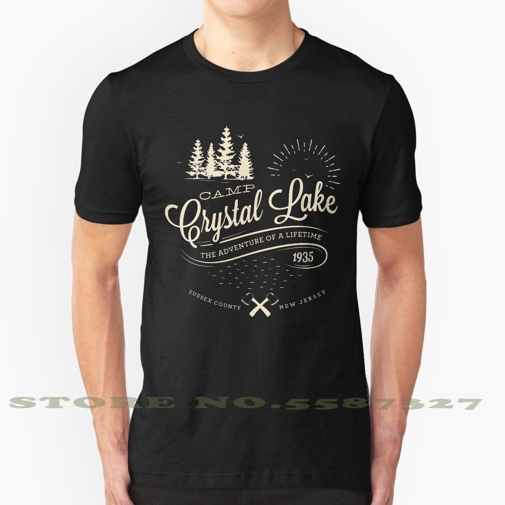 Camp Crystal Lake, летняя забавная футболка для мужчин и женщин, мужчин, Майкла Майерса Джейми ли Кертис, Хоккейная маска, корзина в парке, кемпинг, п...