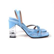 2021 New Summer Women Fashion Transparent Sandals Ladies Ankle Buckle Strap Flip Flops Female Square