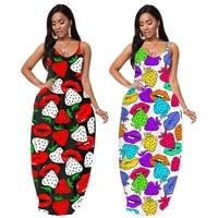 womens fashion print sexy deep v sling lips strawberry dress