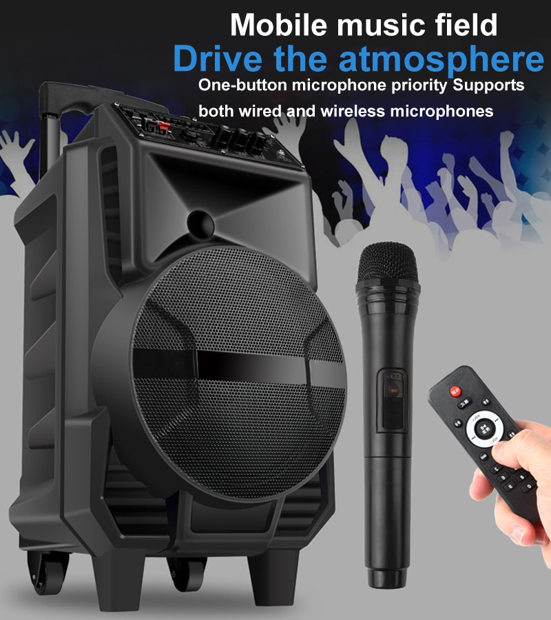 Portable Outdoor Bluetooth Speaker 8 Inch Wireless Bluetooth Speaker High Power Big Battery Mobile Bluetooth Trolley Speaker
