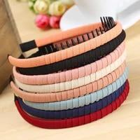women girls hair bands cotton non slip solid cloth headband hair hoop bezel with teeth fixed female hair accessories headwear