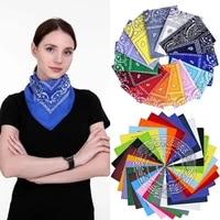 Bandana Handkerchiefs Head Bandannas for Men   Women Paisley Cowboy Square Head Scarf Black Blue Red Polyester Bandanas panuelo