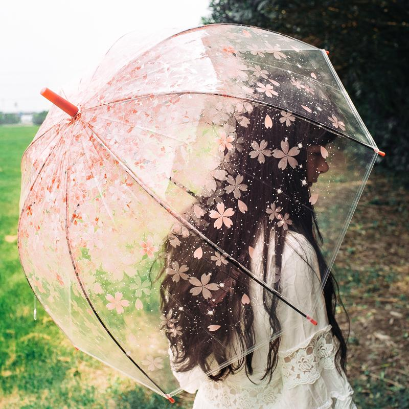 2019 nuevo cereza transparente de mango largo del paraguas transparente niñas Retro color caramelo brillante princesa paraguas