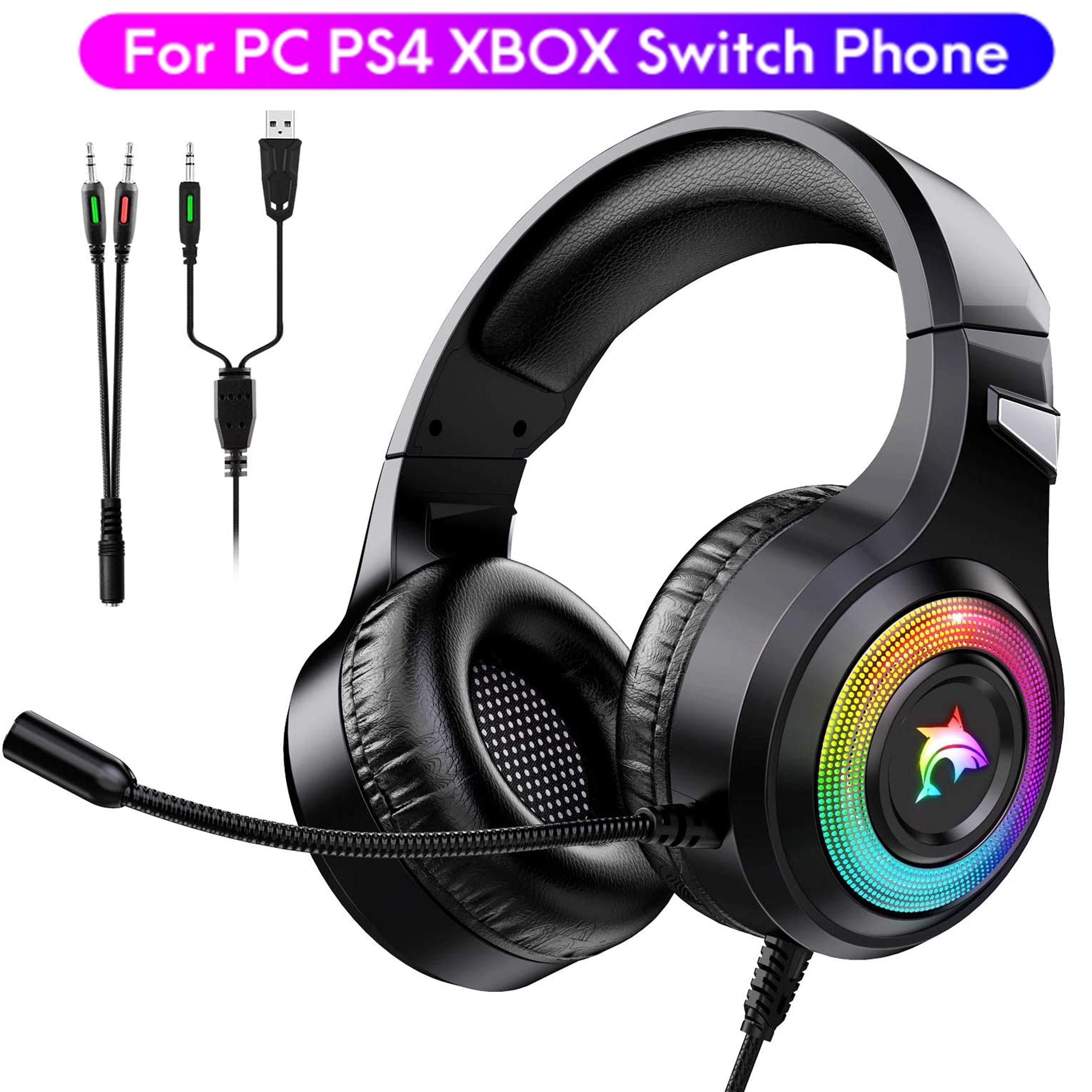 FUNINGEEK سماعة الألعاب Fone Gamer الإفراط في رئيس سماعة مع ميكروفون RGB التنفس ضوء سماعات أذن بأسلاك للكمبيوتر PS4 Xbox One