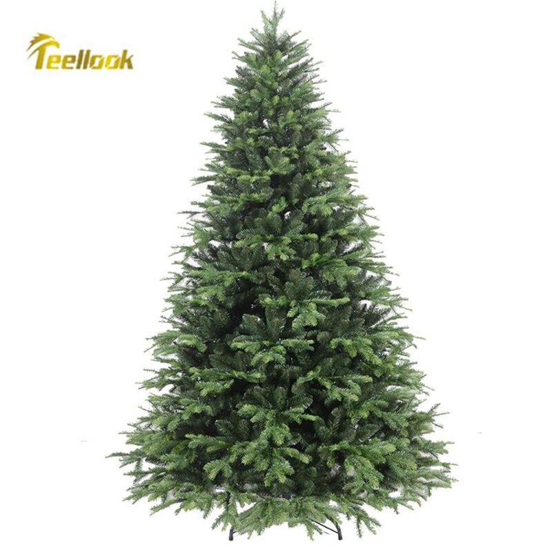 Teellook-شجرة الكريسماس المضيئة PE PVC ، 1.2 م/4.0 م ، أخضر ، رأس السنة ، ديكور المنزل