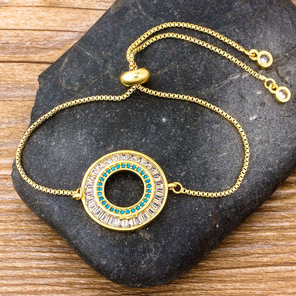 Pulsera de Zirconia cúbica de cobre con diamantes de imitación redondos de lujo de moda, cadena ajustable, pulseras, joyería para mujer, regalo para fiesta de boda