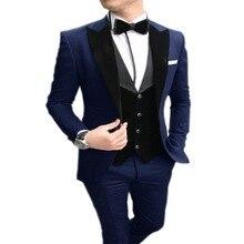 2020 Mens suit 3 Pieces Set Casual Slim Fit Navy Blue Peaked Lapel Best Man Tuxedos For Wedding Party Suits (Blazer+vest+Pants)