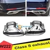 Embout de silencieux d'échappement arrière en acier inoxydable 1 paire pour voiture modifiée classe S W222 S320 S400 S500 S600
