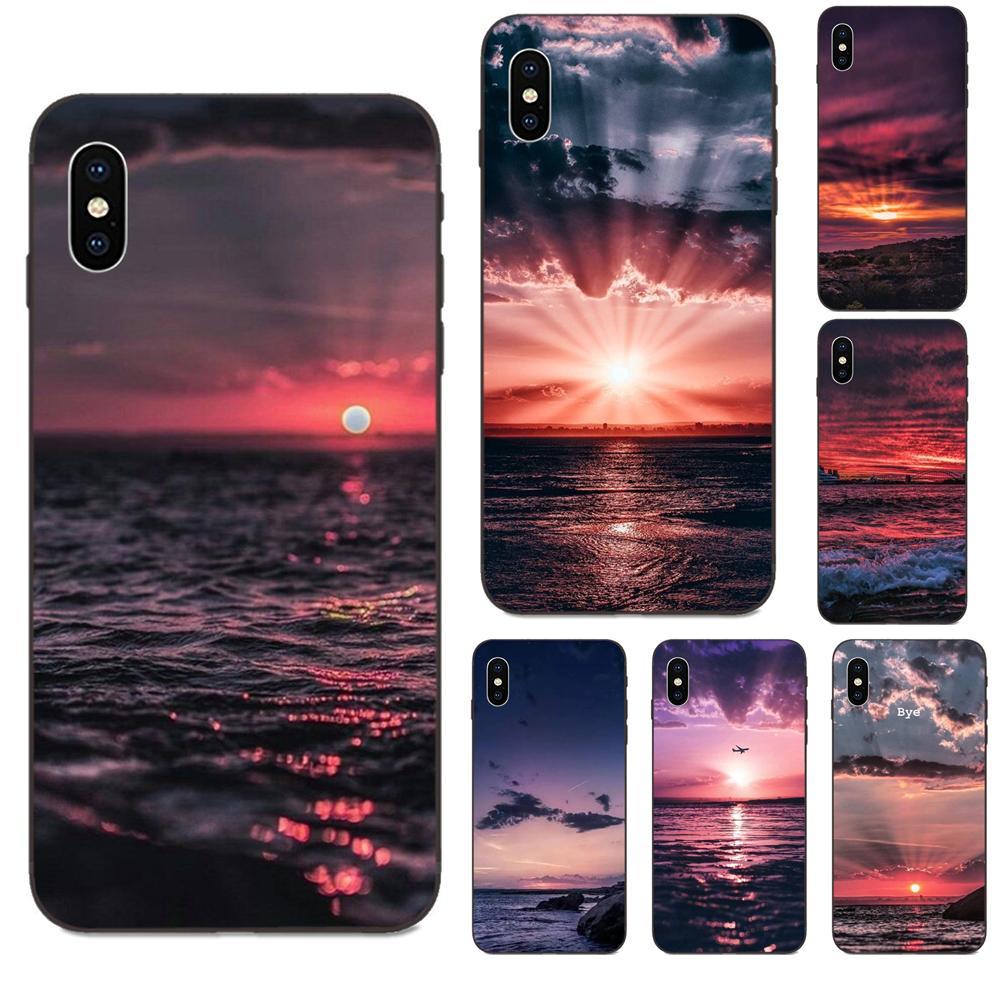 Tpu escudo móvel para apple iphone 11 x xs max xr pro max 4 4S 5 5S se 6s 7 8 plus nascer do sol pôr do sol avião o mar adorável