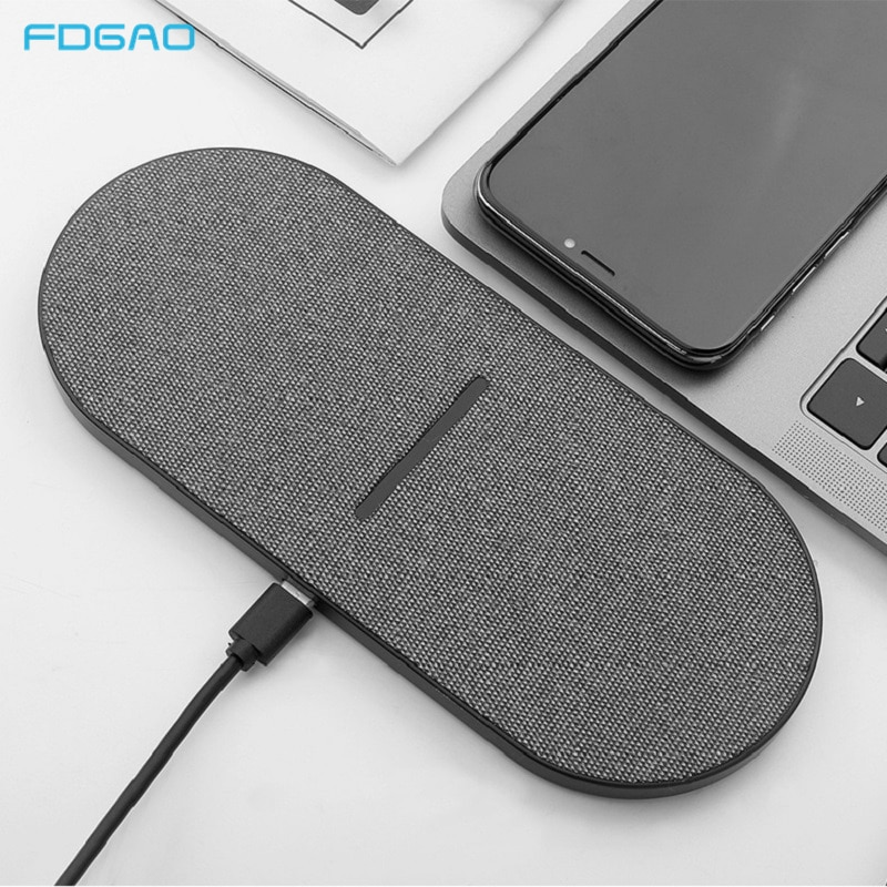2 in 1 30W Dual Seat Qi Wireless Charger for Samsung S20 S10 Double Fast Charging Pad for IPhone 12