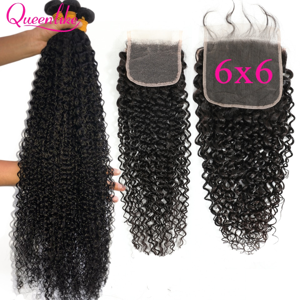 28 30 32 34 36 Malaysian Kinky Curly Hair With 6X6 Closure Hair Weave 3 Human Hair Bundles With Closure 6*6 Closure And Bundles
