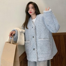 Cold Elegant Style Coat Women's Fleece-Lined Temperament Autumn and Wild Winter Thickened Wool Lamb