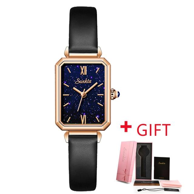 SUNKTA Square Wristwatches Top Brand Luxury Japan Quartz Movement Malachite Texture Designer Elegant Style Watches For Women+Box enlarge