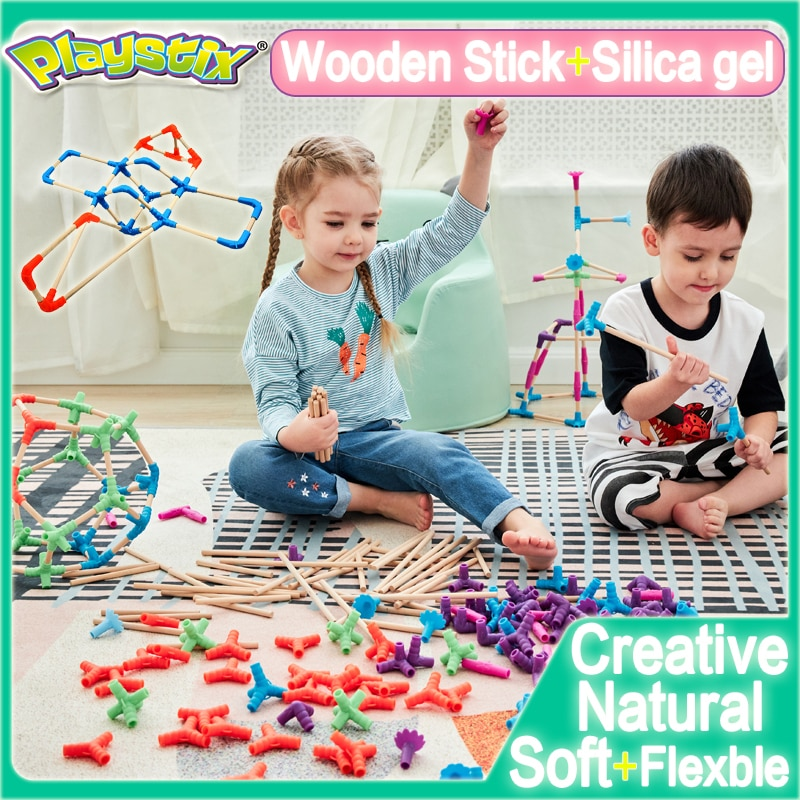 PLAYSTIX Children Toys Early Childhood Enlightenment Space Construction Building Blocks Wooden Stick Soft Connector Kid's Toy