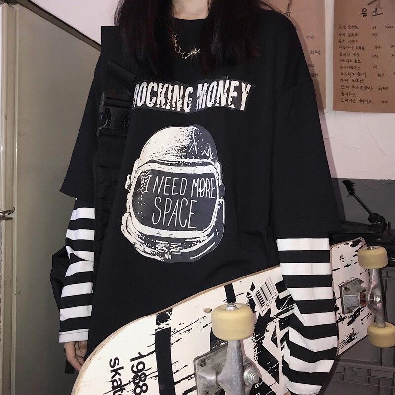 Otoño falso dos piezas camiseta Casual letra impresa o-cuello camisetas a rayas Patchwork camisetas de gran tamaño mujeres de manga larga negro tops