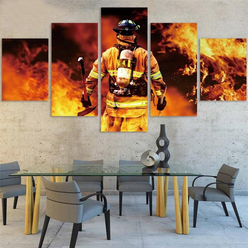 Pintura DIY de punto de cruz de bomberos y gente, decoración para el hogar con diamantes 5D, cuadro bordado, pegatina para pared, mosaico completo de taladro redondo