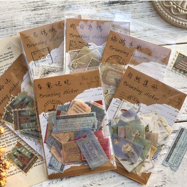 40-unids-pack-museo-serie-decorativas-de-etiqueta-album-diario-papeleria-retro-sello-pegatina-de-planta-adhesivo-de-papeleria