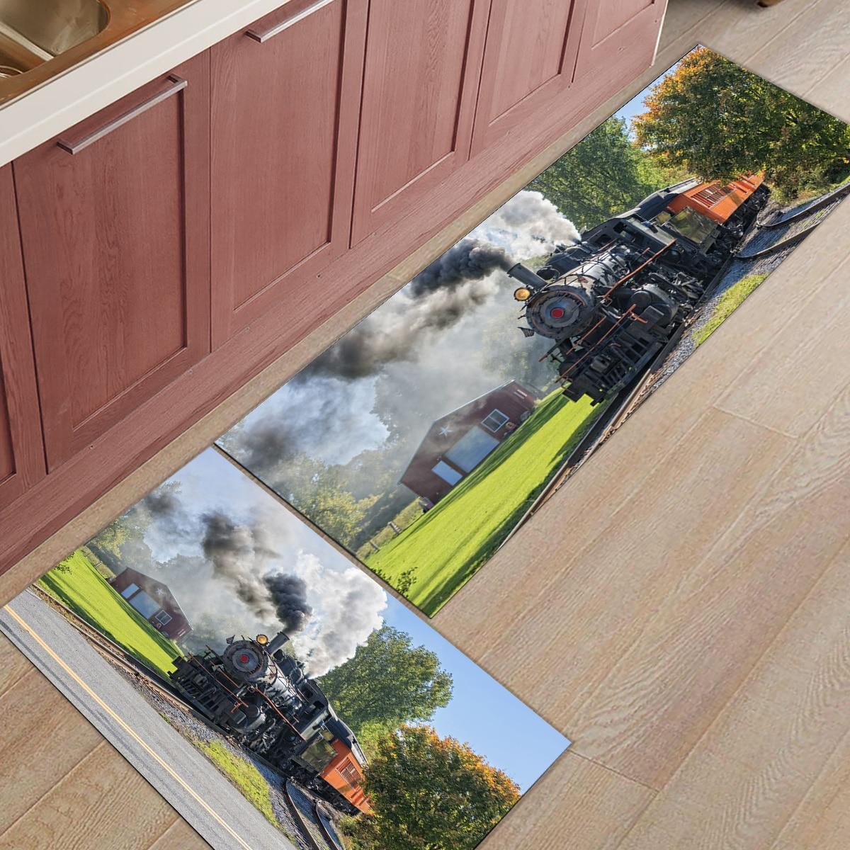 2 pçs/set antiderrapante cozinha tapete capacho vapor trem fumaça paisagem retro corredor tapete portch tapetes de porta interior