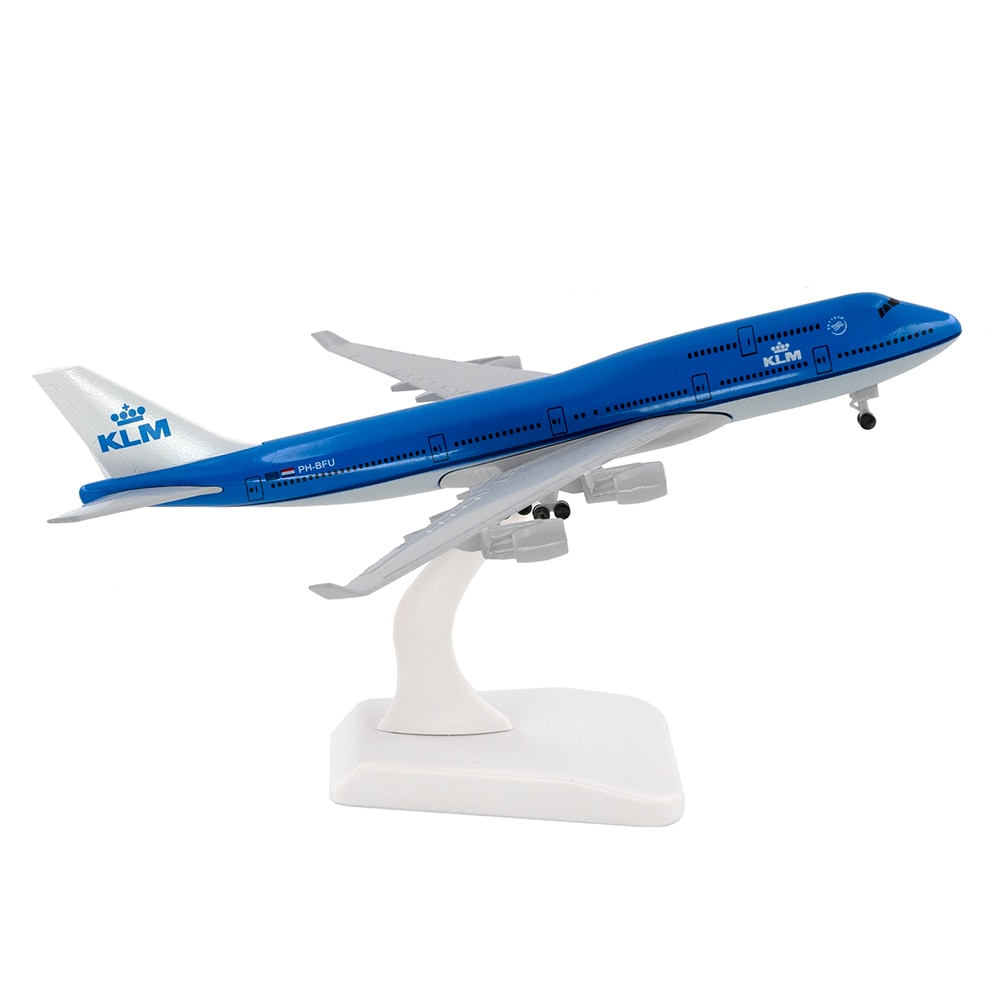20cm Aircraft KLM Royal Dutch Airlines Boeing 747 with Landing Gear B747 Alloy Plane Model Toy Children Gift for Collection