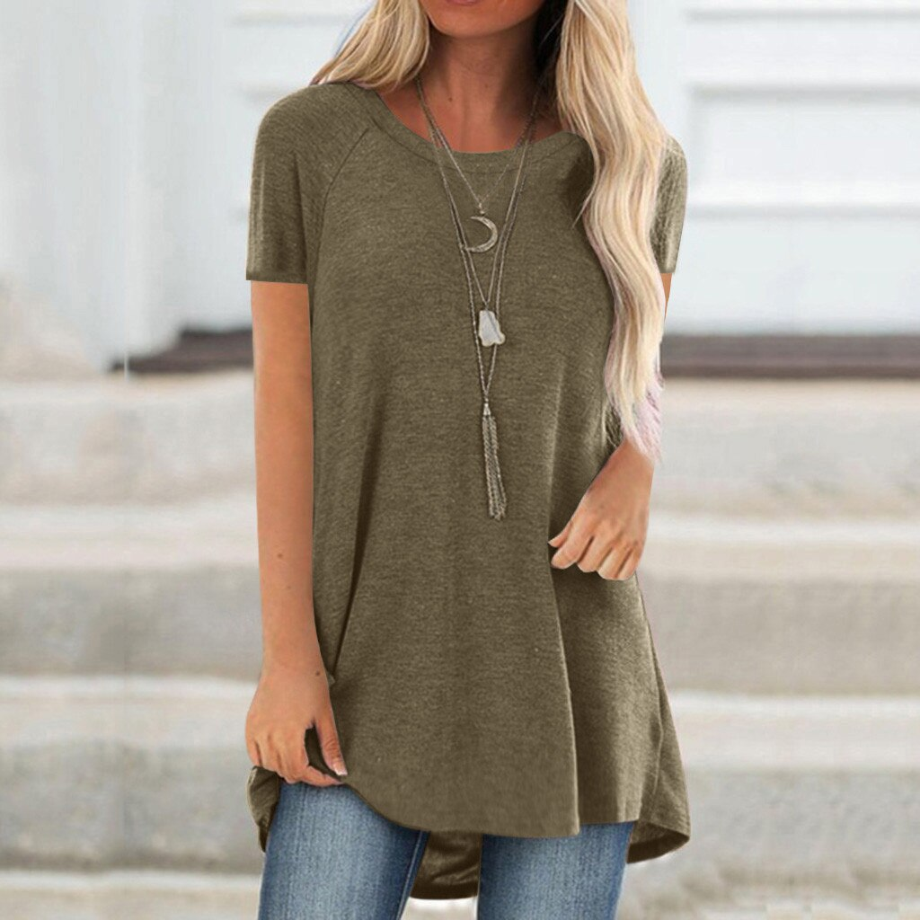 tops women 2021 Women Fashion Plus Size Round Neck Short Sleeved Long T-shirt Blouse mujer camisetas 10% off for 2 items