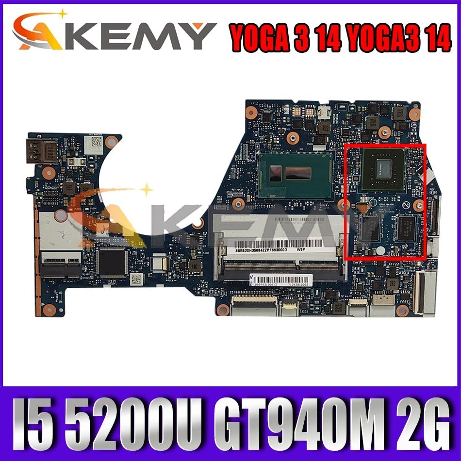 Akemy BTUU1 NM-A381 لينوفو اليوغا 3 14 YOGA3 14 كمبيوتر محمول اللوحة وحدة المعالجة المركزية I5 5200U GPU GT940M 2G 100% اختبار