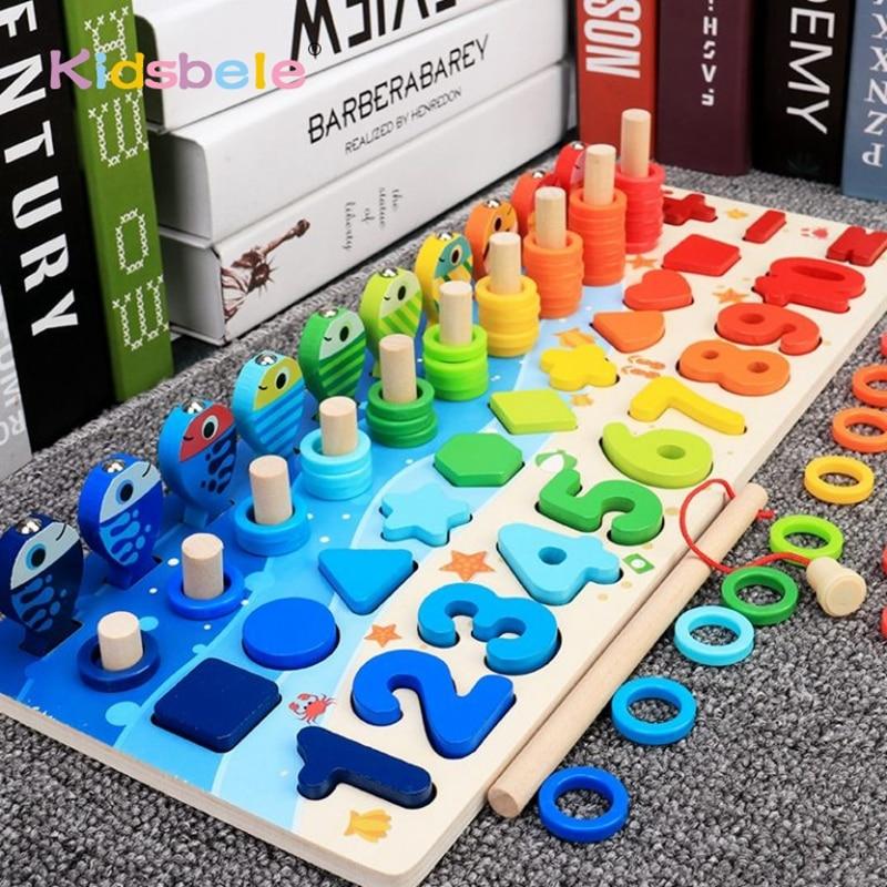 أطفال مونتيسوري ألعاب الرياضيات للأطفال الصغار التعليمية خشبية لغز ألعاب الصيد عدد العد شكل مطابقة فارز ألعاب المجلس لعبة