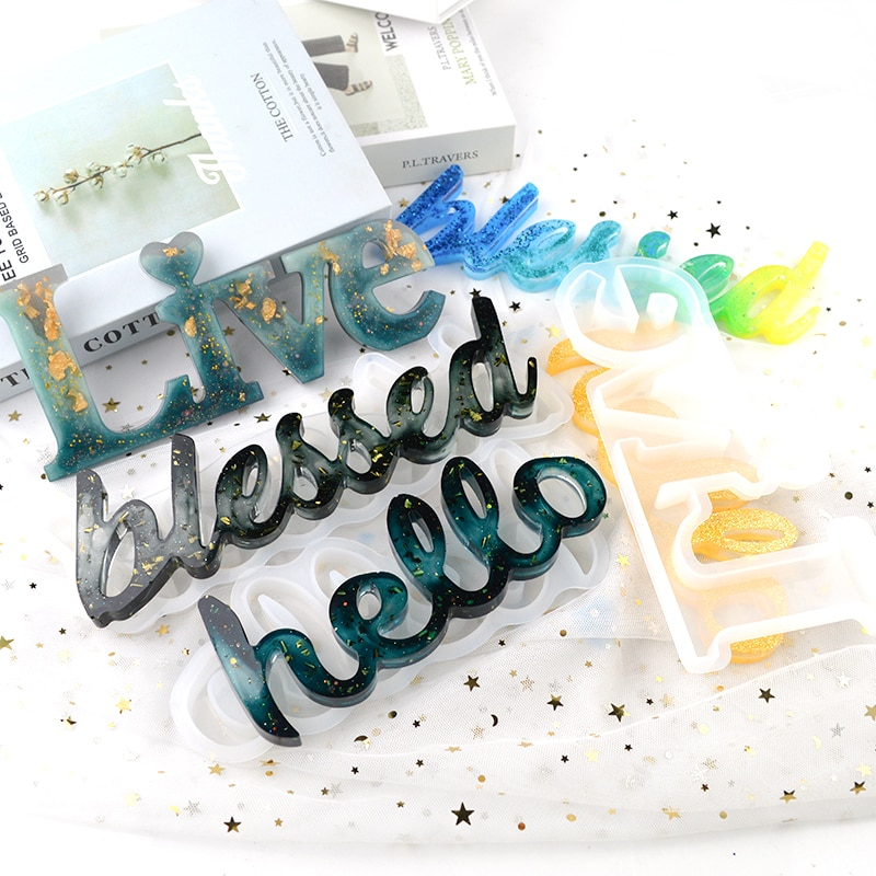 Blessed Hello Live Standing Letter Resina Epoxi Stampo Silicone Creative Decorative Alphabet Word Silicone Molds For Resin Art