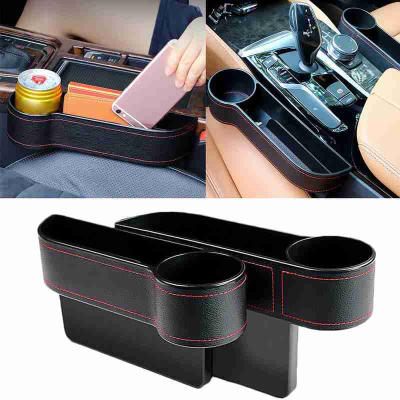 Universal izquierda/derecha almacenamiento para hueco de asiento de coche caja de cuero PU Auto teléfono cartera botella tazas titular organizador accesorios interiores del coche
