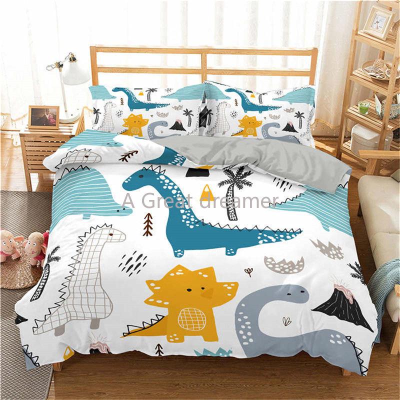 ثلاثية الأبعاد طقم سرير ديناصور الكرتون سرير مطبوع غطاء للأطفال طفل الفتيان حاف مجموعة غطاء حجم واحد الأبيض مفارش دروبشيبينغ