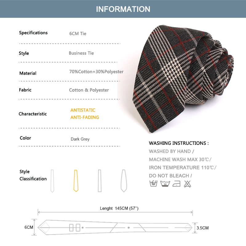 High Quality Men Japanese Style Tie Brand New Fashion Formal Ties For Men Business Work Necktie Classical Plaid Cotton Neck Tie