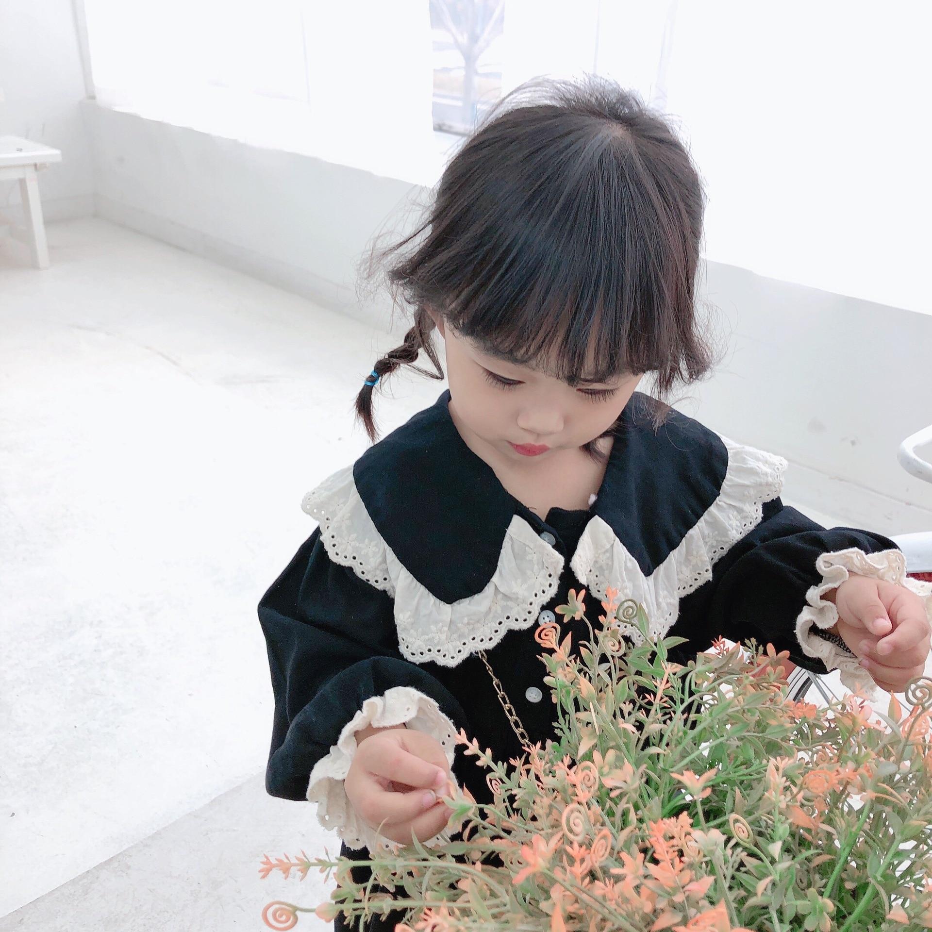 Купить с кэшбэком 2021 Baby Clothing Children Girl Dress Child Long Sleeve Korean One-Piece Dress Kids Muslin Clothes Fashion Girls Casual Dresses